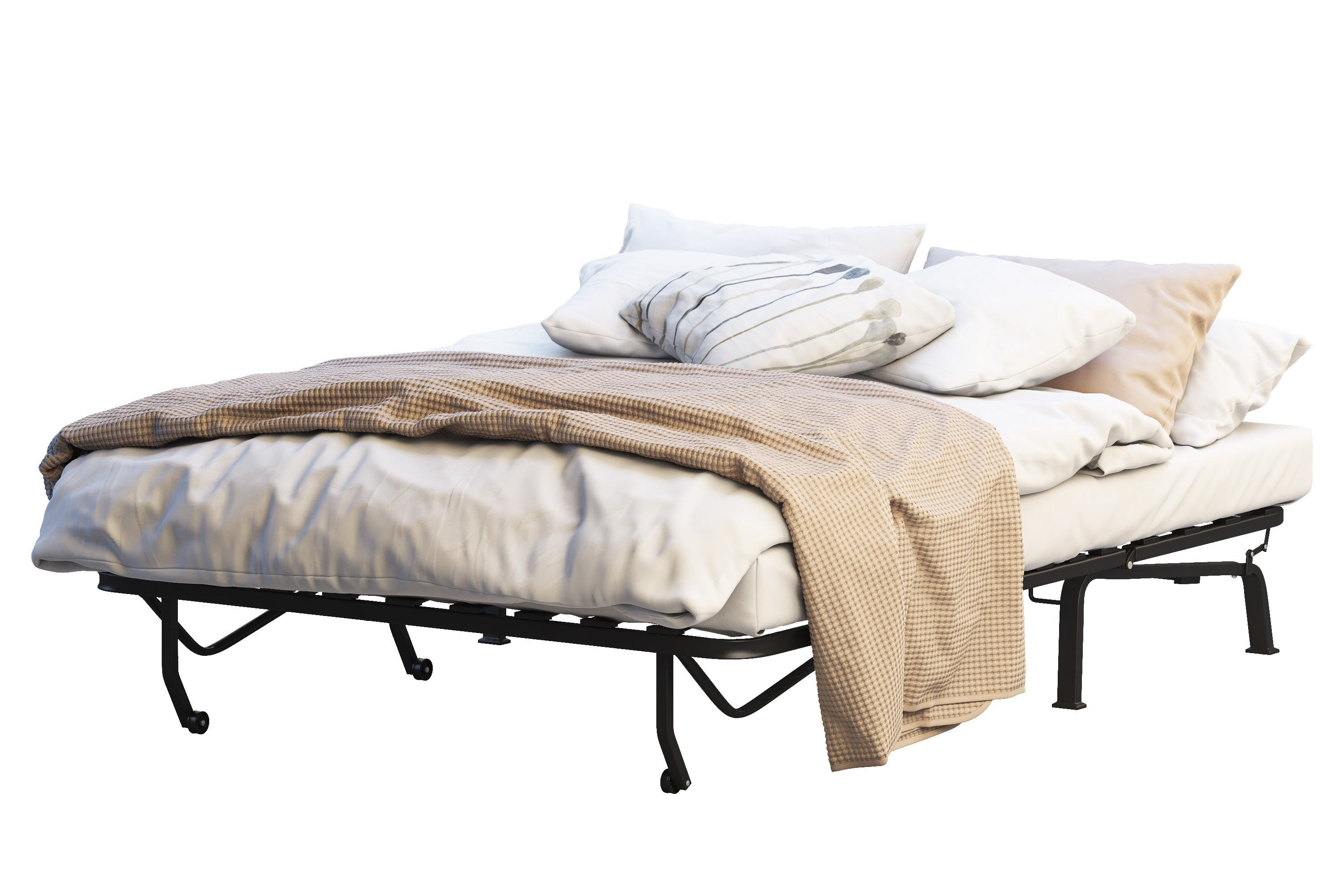 Minimalistic portable bed with linen